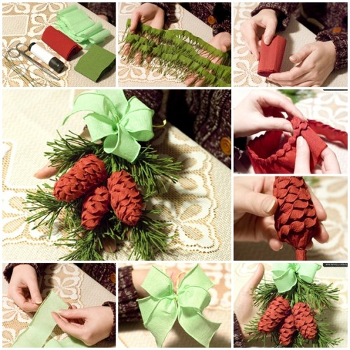wonderful diy christmas crepes paper pine cone