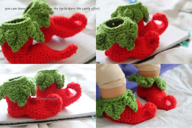 crochet chilielf baby shoes free pattern 4 Wonderful DIY Crochet Chili Elf Baby Shoes  with Free Pattern