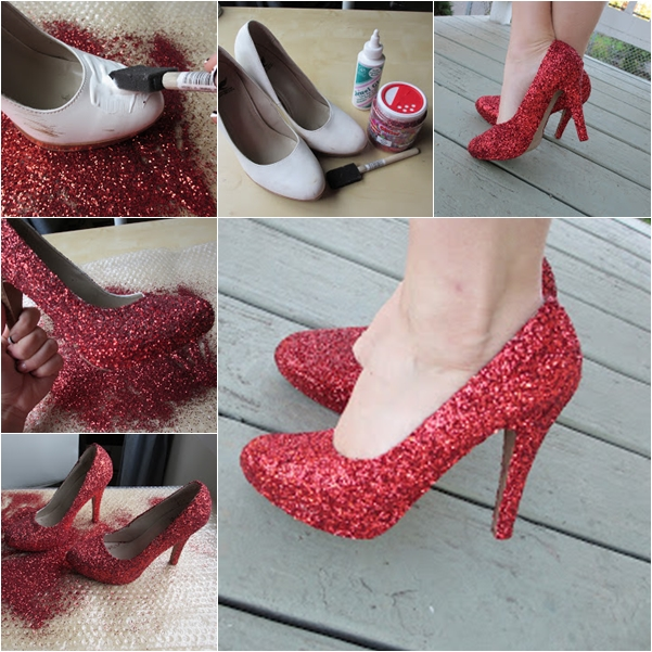glittery shoes wonderful DIY Wonderful DIY Stylish Glittery Shoes