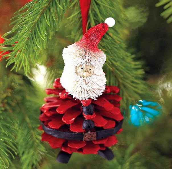 handmade christmas tree ornaments pinecone red santa craft Wonderful DIY 30+ Homemade Christmas  Ornaments