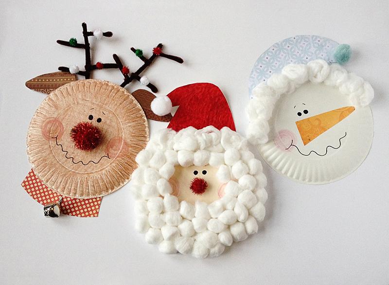 paper-plate-christmas-characters-santa-snowman-rudolph-wonderful DIY