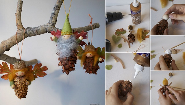 pinecone ornaments wonderful DIY Wonderful DIY Cute Pine Cone Fairy Ornaments