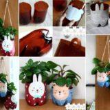 Wonderful DIY Cute Bunny / Bear Planter from Plastic Bottle