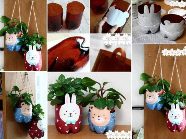 993346 640264059317459 1443819451 n 600x449 Wonderful DIY Cute Bunny / Bear Planter from Plastic Bottle