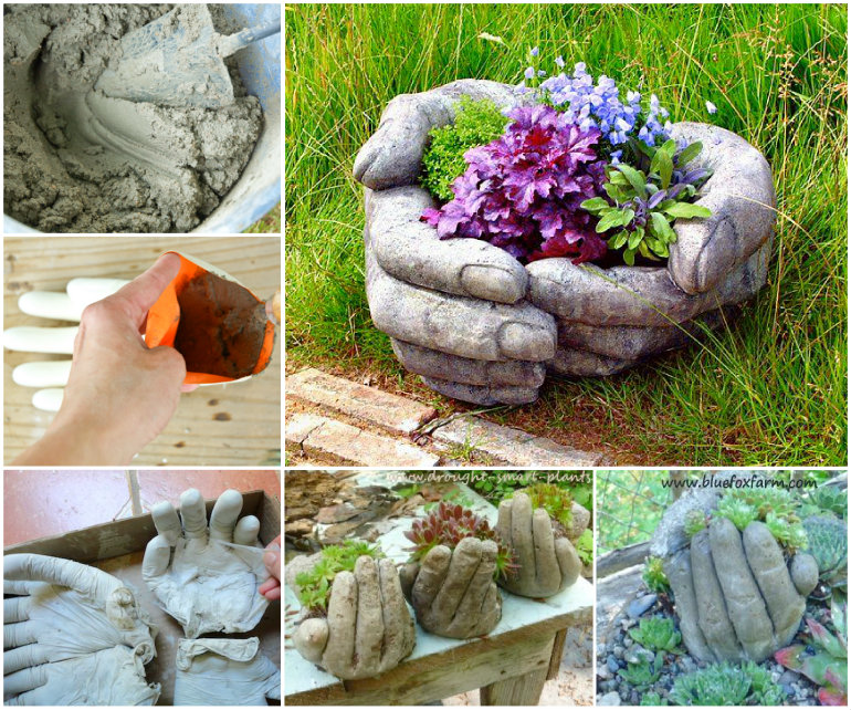 Teacup tyre planters guides inspiring ideas diy hand planter project view in gallery cement hand planter wonerfuldiy solutioingenieria Images