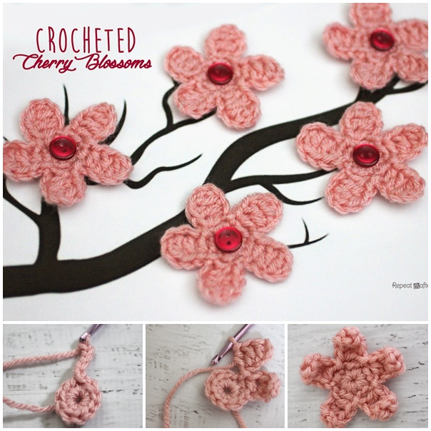 Wonderful Diy Crochet Cherry Blossom Flower With Free Pattern