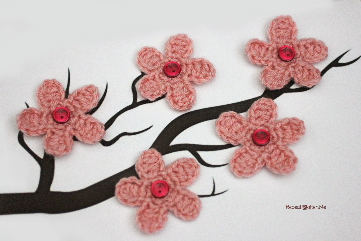Cherry Blossom Flower Crochet freePattern wonderfuldiy4 Wonderful DIY Crochet Cherry Blossom Flower with Free Pattern