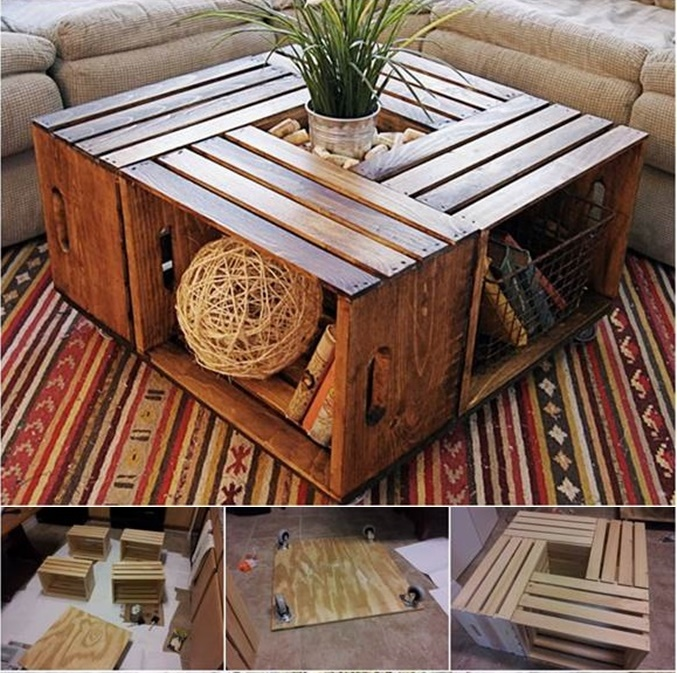 VIEW IN GALLERY Coffee Table From Recycled Wine Crates Wonderfuldiy1  Wonderful DIY Coffee Table From Recycled Wine Crates