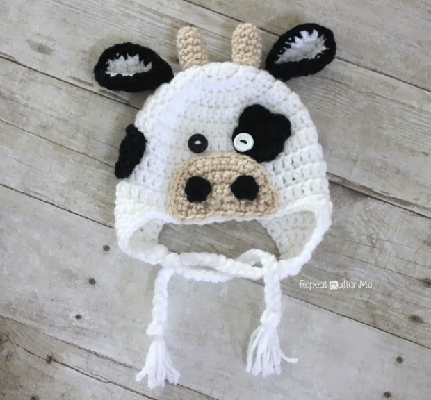 Cow-Crochet-Hat- wonderfuldiy