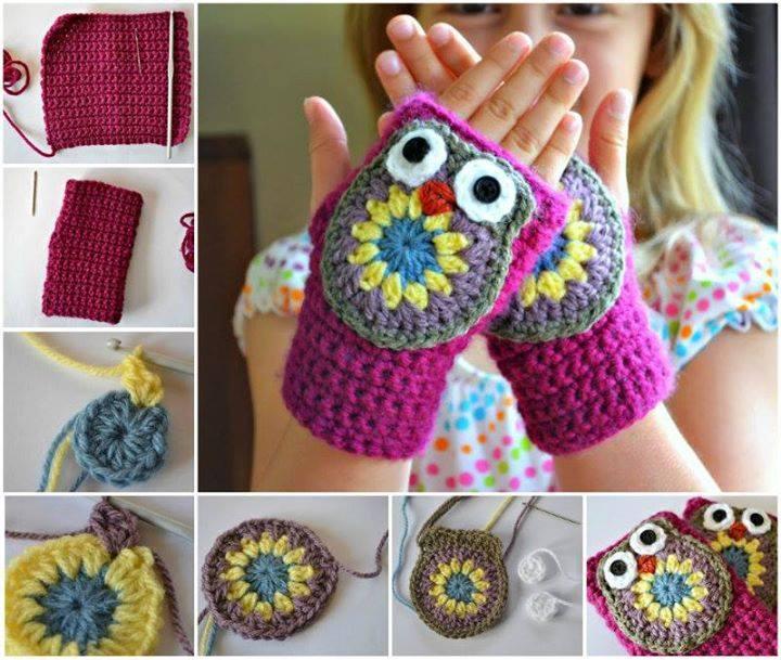Crochet-Owl-Mittens