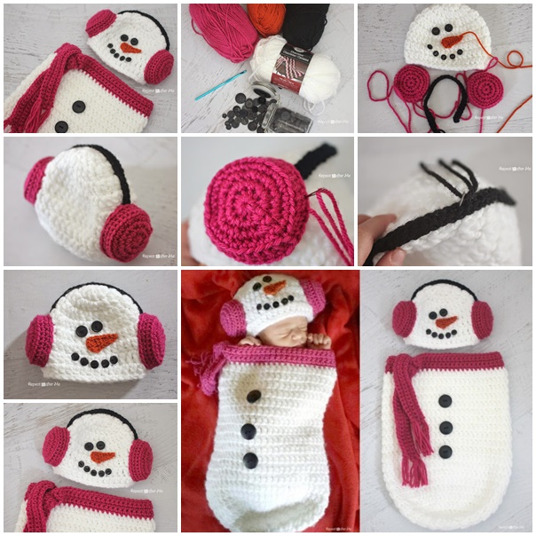 Crochet Snowman Ear Muff Hat and Cocoon wonderfuldiy2 Wonderful DIY Crochet Snowman Hat and Cocoon with Free Pattern