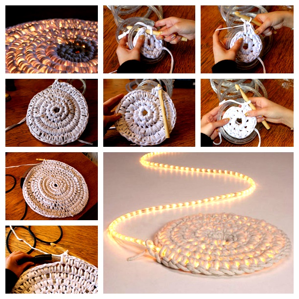 Crochet illuminated lights rug wonderfuldiy Wonderful DIY Crochet Lights Rug for Living room