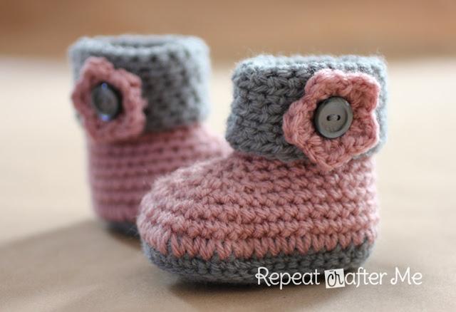 CuffedBoodGirl1 Wonderful DIY Crochet Cuffed Baby Booties with Free Pattern