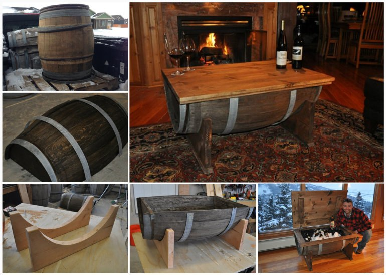 DIY Whiskey Barrel Table wonderfuldiy1 Wonderful DIY Whiskey Barrel Coffee Table