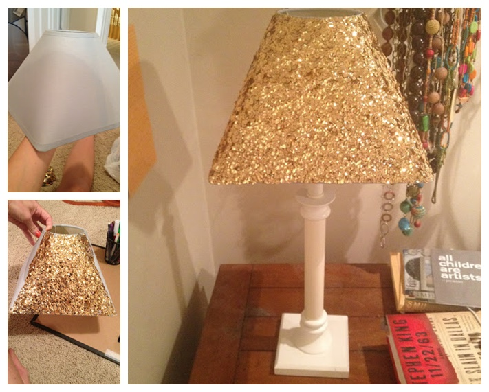Wonderful diy gold sequin lamp shade mozeypictures Image collections