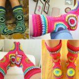 Wonderful DIY Crochet Hexagon Slipper Boots Free Pattern