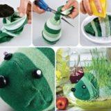 Wonderful DIY Adorable Hedgehog Sock Planters