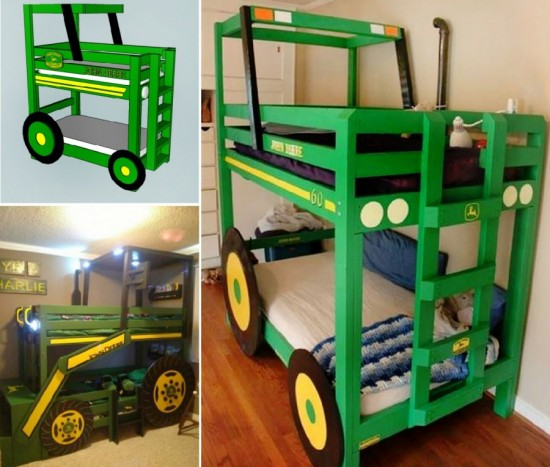John Deere Tractor Bunk Beds 550x467 Tractor Bunk Bed for Boys
