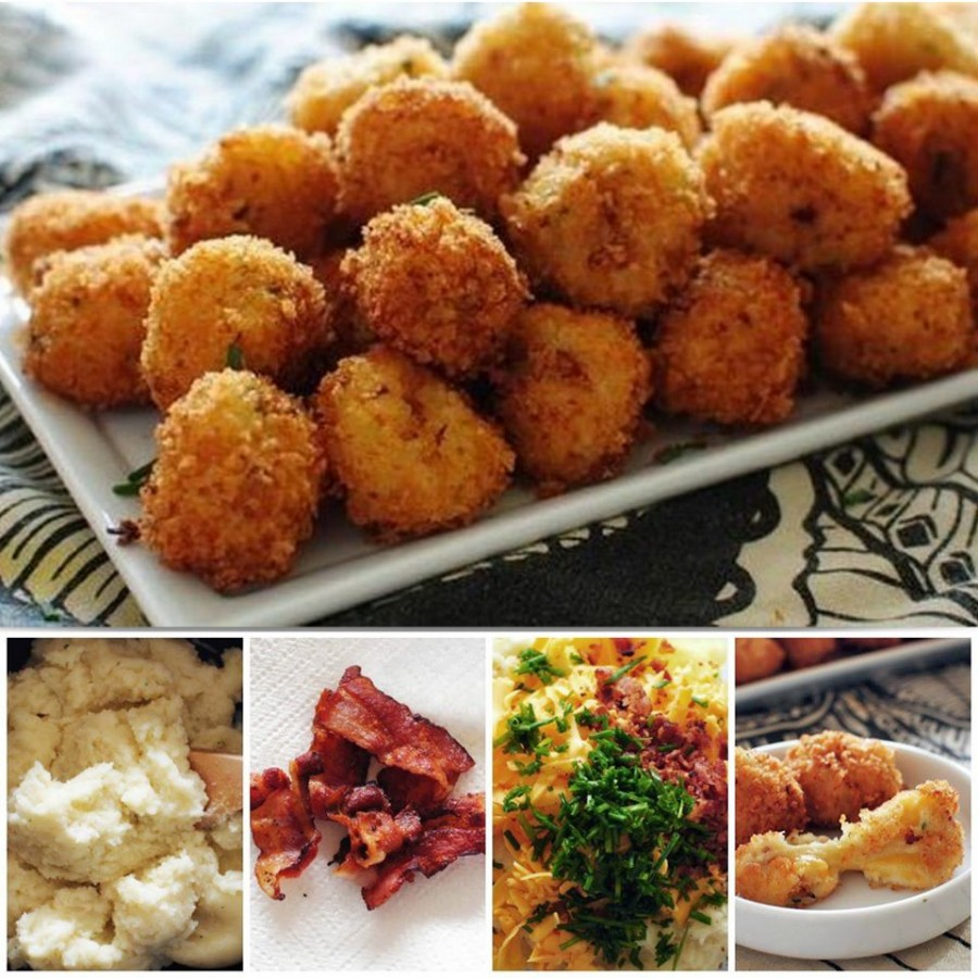 Loaded Cheesy Mashed Potato Balls wonderfuldiy Wonderful DIY Delicious Bacon Cheesy Potato Balls