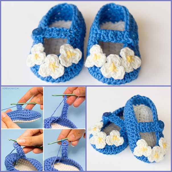 Mary Jane Baby Booties  crochet pattern-wonderfuldiy