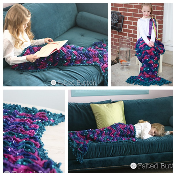 Mermaid Blanket crochet pattern wonderfuldiy Wonderful DIY  Sparkly Crochet Mermaid Blanket