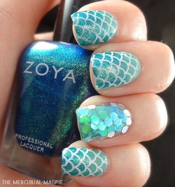 Click Here for the Tutorial from TheMercurialMagpie - 30+ Classic Mermaid Nails Art Design