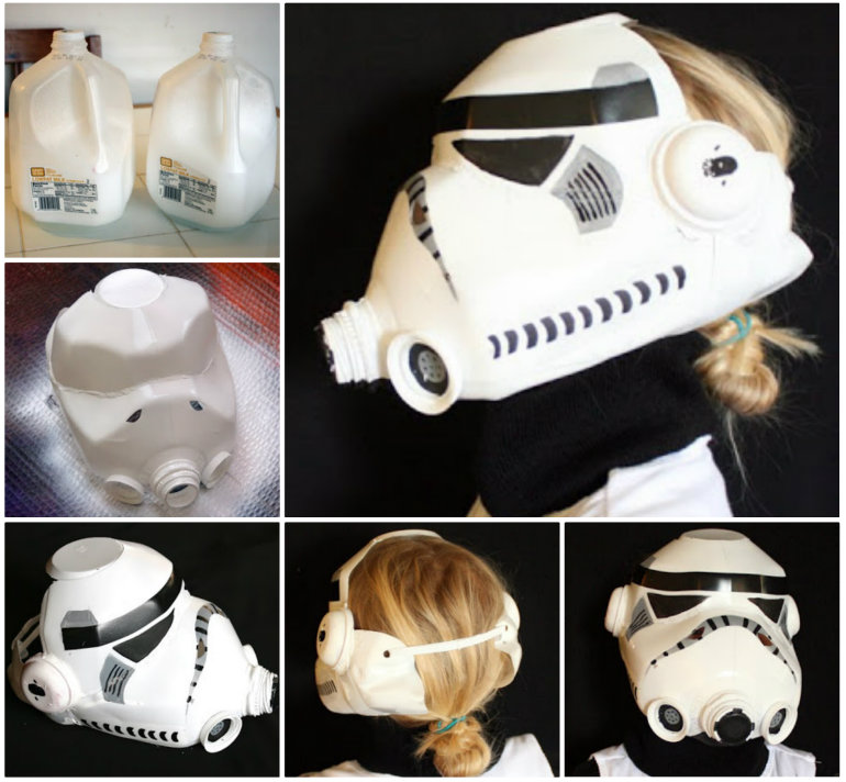 & Wonderful DIY Milk Jug Stormtrooper Helmet for Kids