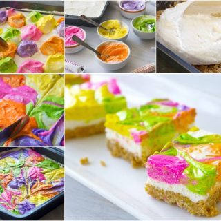 Wonderful DIY No-Bake Neon Cheesecake Bars
