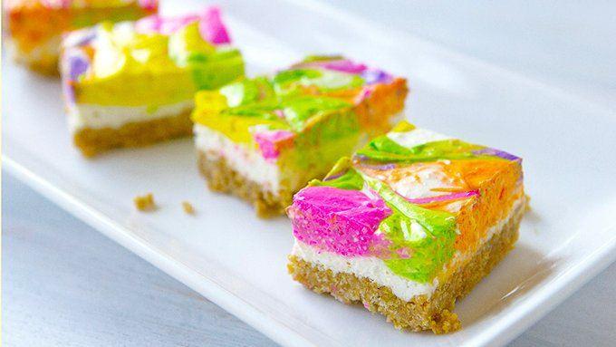 No Bake Neon Cheesecake Bars wonderfuldiy1 Wonderful DIY No Bake Neon Cheesecake Bars