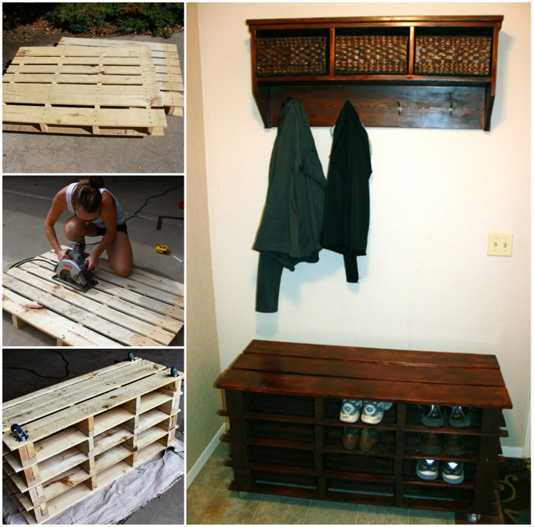 View In Gallery Pallet Entry Bench Wonderfuldiy Awesome Shoe Storage Made From Pallets