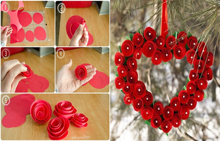 Paper Rosette Wreath wonderfuldiy 1 Wonderful DIY 20 + Valentines Day Wreaths