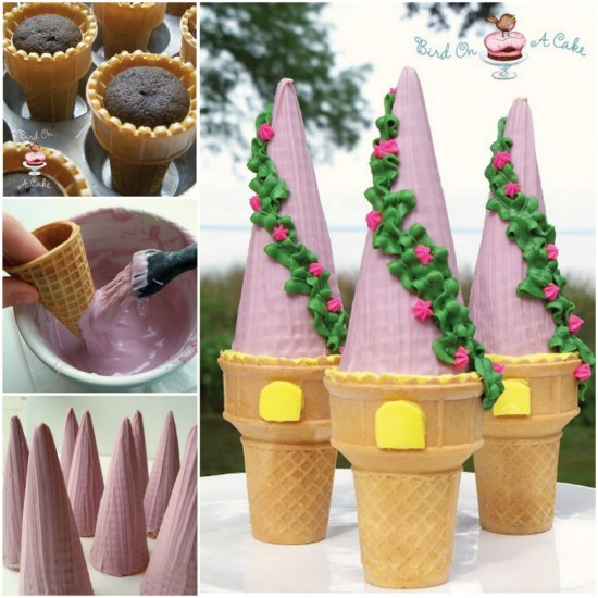 View In Gallery Rapunzel Tower Cones Wonderfuldiy Wonderful Diy Amazing Princess Castle Cake