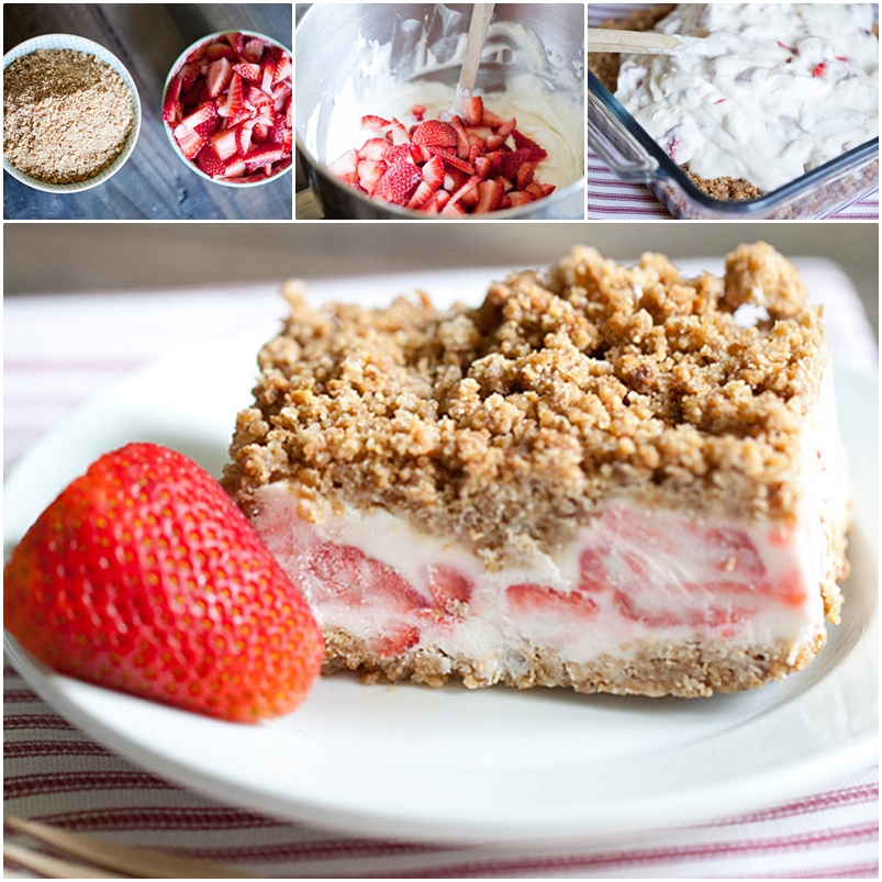 Recipe for Frozen Strawberry Crunch Cake No Bake wonderfuldiy Wonderful DIY No Bake Frozen Strawberry Crunch Cake