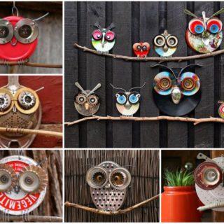 Wonderful DIY Recycled Lid Owls