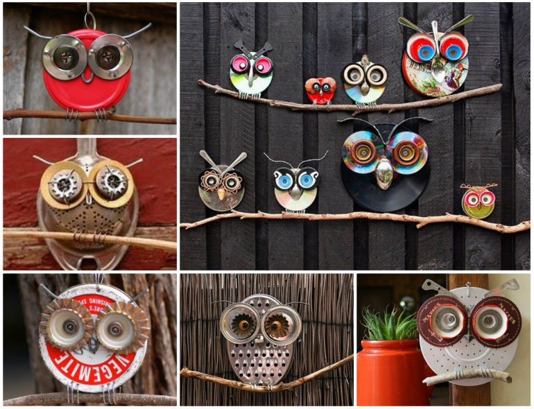 Recycled Owl Art  Wonderful DIY Recycled Lid Owls