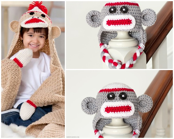 Sock Monkey Baby Hat Crochet Pattern 3