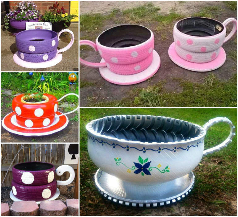 Teacup Tyre Planters wonderfuldiy Inspiring Teacup Tyre Planters for Your Garden