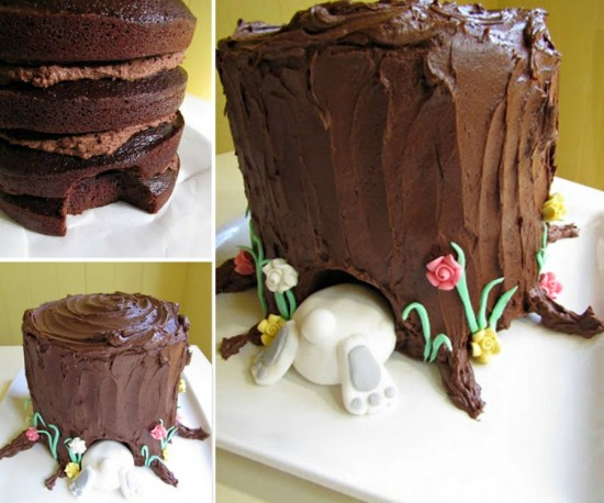 Tree Stump Bunny Cake wonderfuldiy Wonderful DIY Birds Nest Cake