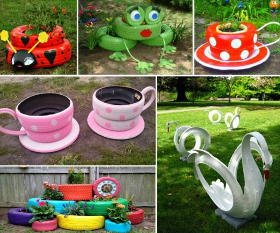 Tyre Planters 550x458 Inspiring Teacup Tyre Planters for Your Garden