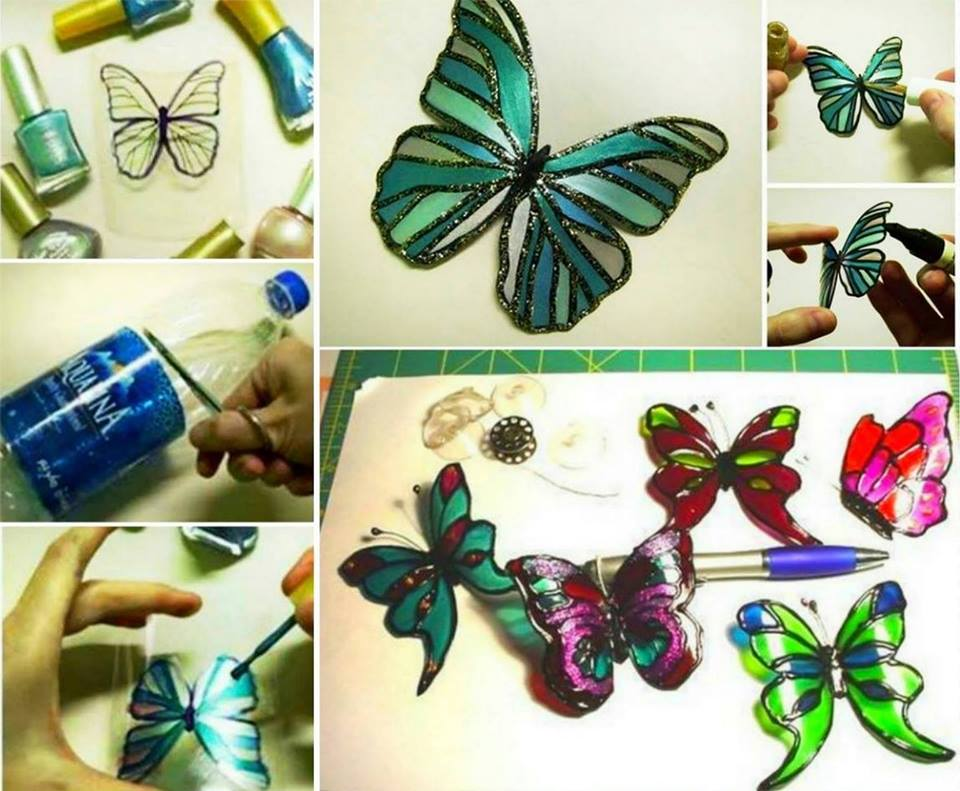 Upcycle Plastic Bottles into these gorgeous Butterflies and decorate with your favourite Nail Polish