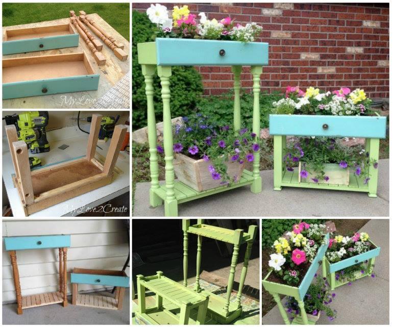 Upcycled Drawer Planters wonderfuldiy Wonderful DIY Recycled Drawer Planter