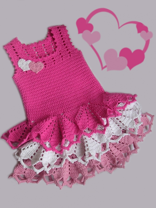 Valentine dress for little girls crochet pattern wonderfuldiy1 Simply Stunning Crochet Valentines Dress – Free Pattern and Guide