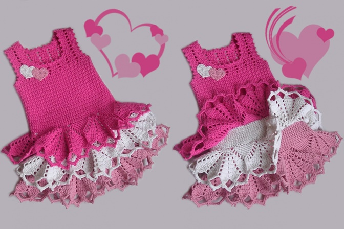 Valentine dress for little girls, crochet pattern-wonderfuldiyf