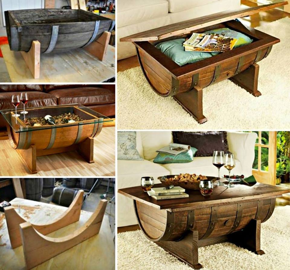Wine Barrel Coffee Table wonderfuldiy2 Wonderful DIY Whiskey Barrel Coffee Table