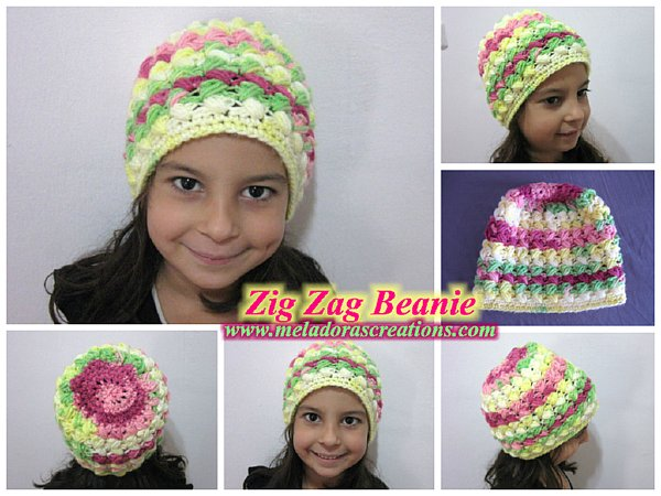 Zig Zag Beanie free pattern wonderfuldiy Wonderful DIY Zig Zag Puff Stitch Gloves and Hat Set