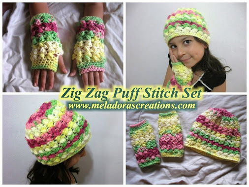Zig Zag Puff Stitch Finger less Gloves and hat free pattern