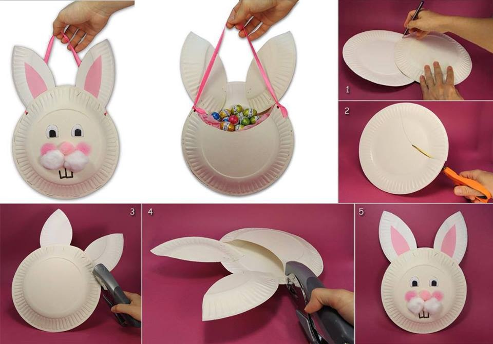 bunny basket wonderfuldiy Wonderful DIY Easter Paper Plate Bunny Basket