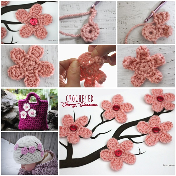 crochet Cherry Blossom wonderfuldiy f2 Wonderful DIY Crochet Cherry Blossom Flower with Free Pattern