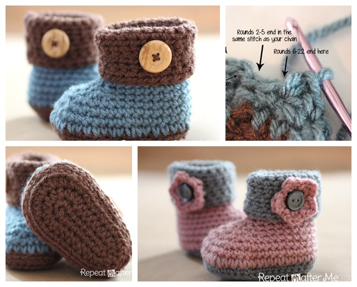 Wonderful DIY Crochet Cuffed Baby Booties With Free Pattern Fascinating Crochet Baby Booties Pattern Step By Step