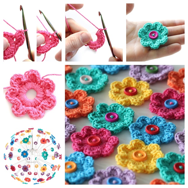crochet mini hoop button flowers-- wonderful diy2